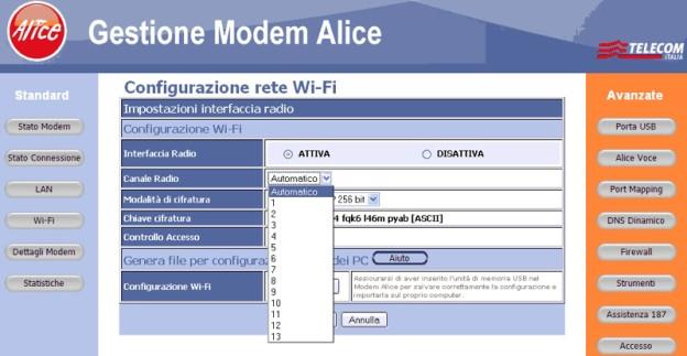 192.168.1.1 - configurazione modem alice